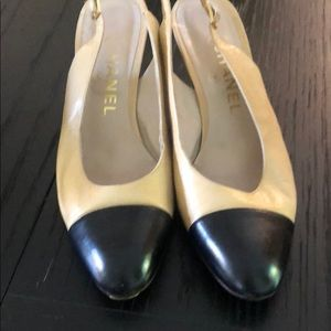 CHANEL Cap Pointed Toe Slingback Kitten Heel